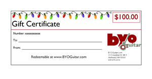 BYOGuitar Gift Certificate GIFTCERT