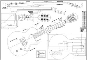 Full Scale LPJR Single Cut  BYOPLAN LPJRSC on fender stratocaster blueprint