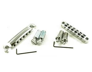 TONEPROS® METRIC TUNEOMATIC/TAILPIECE SET (LARGE POSTS/NOTCHED SADDLES) CHROME  LPCM02/CH