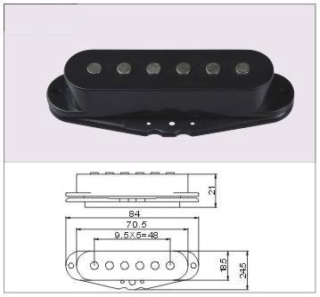 Single coil guitar pickup detail